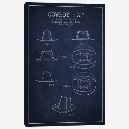 Cowboy Hat Navy Blue Patent Blueprint Canvas Print #ADP300} by Aged Pixel Canvas Art