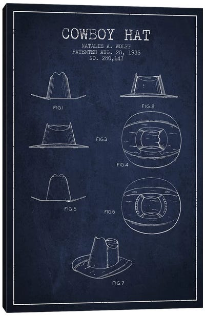 Cowboy Hat Navy Blue Patent Blueprint Canvas Art Print