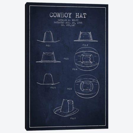 Cowboy Hat Navy Blue Patent Blueprint Canvas Print #ADP300} by Aged Pixel Canvas Art
