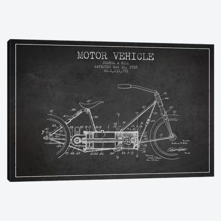Joshua A. Hill Motor Vehicle Patent Sketch (Charcoal) Canvas Print #ADP3010} by Aged Pixel Canvas Artwork