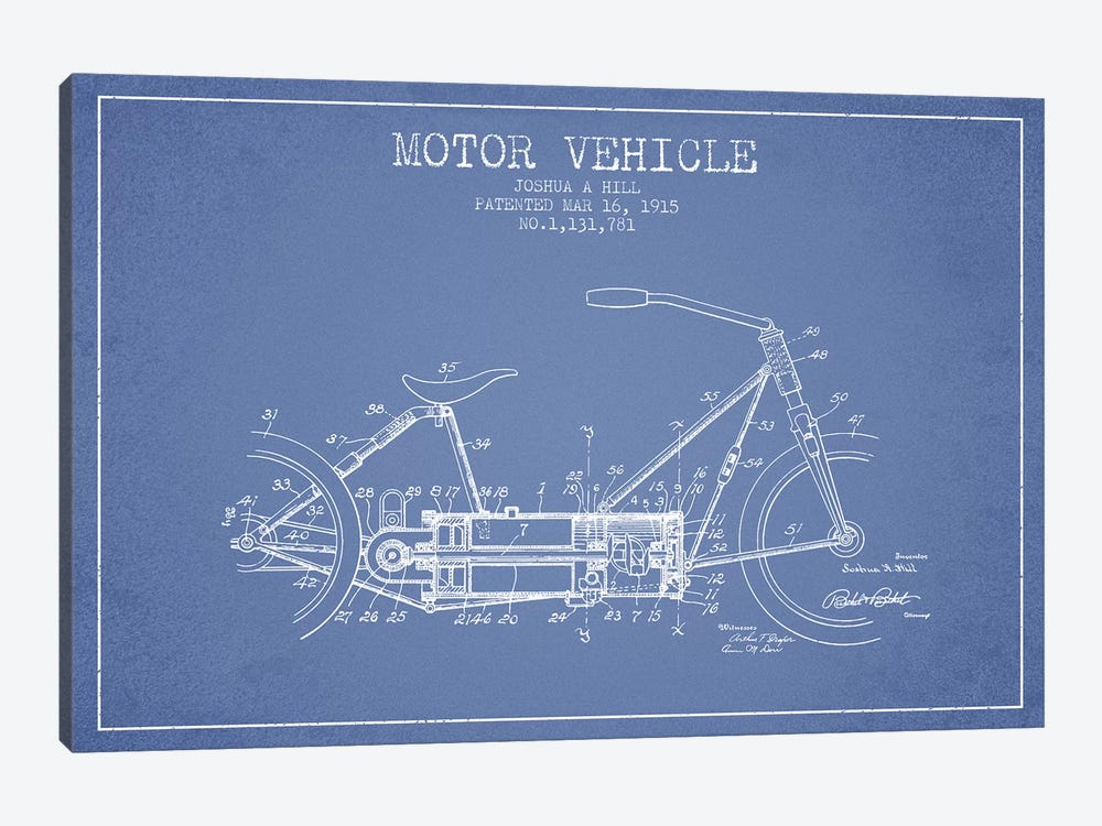 Joshua A. Hill Motor Vehicle Patent Sketch (Light Blue) by Aged Pixel 1-piece Canvas Wall Art