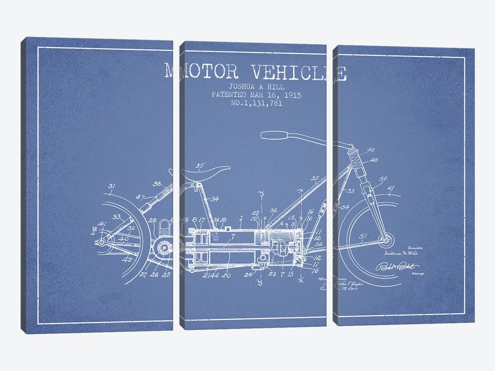 Joshua A. Hill Motor Vehicle Patent Sketch (Light Blue) by Aged Pixel 3-piece Canvas Wall Art