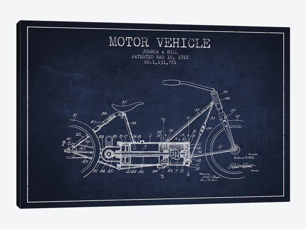 Joshua A. Hill Motor Vehicle Patent Sketch (Navy Blue) by Aged Pixel 1-piece Canvas Art Print