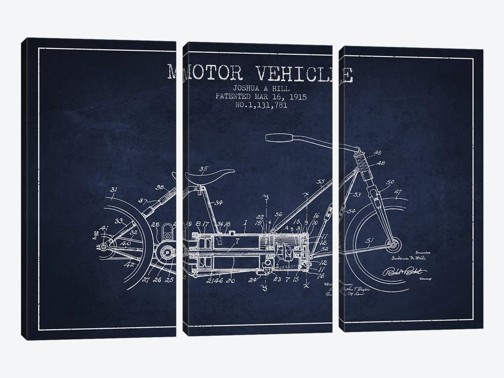 Joshua A. Hill Motor Vehicle Patent Sketch (Navy Blue) by Aged Pixel 3-piece Art Print