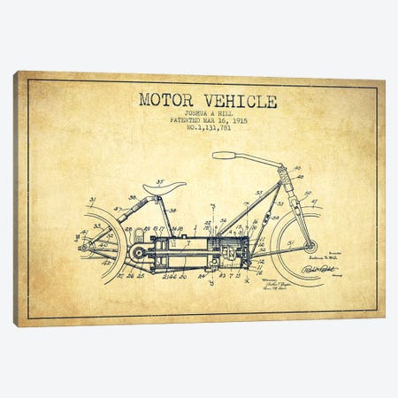 Joshua A. Hill Motor Vehicle Patent Sketch (Vintage) Canvas Print #ADP3013} by Aged Pixel Canvas Artwork
