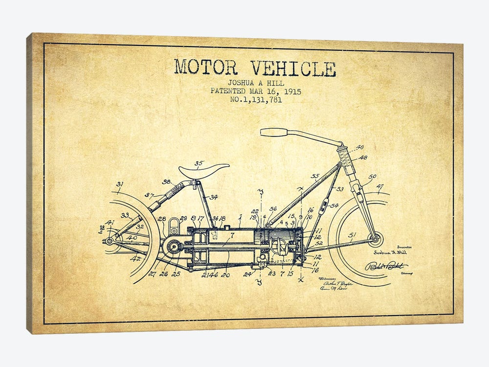 Joshua A. Hill Motor Vehicle Patent Sketch (Vintage) by Aged Pixel 1-piece Canvas Art