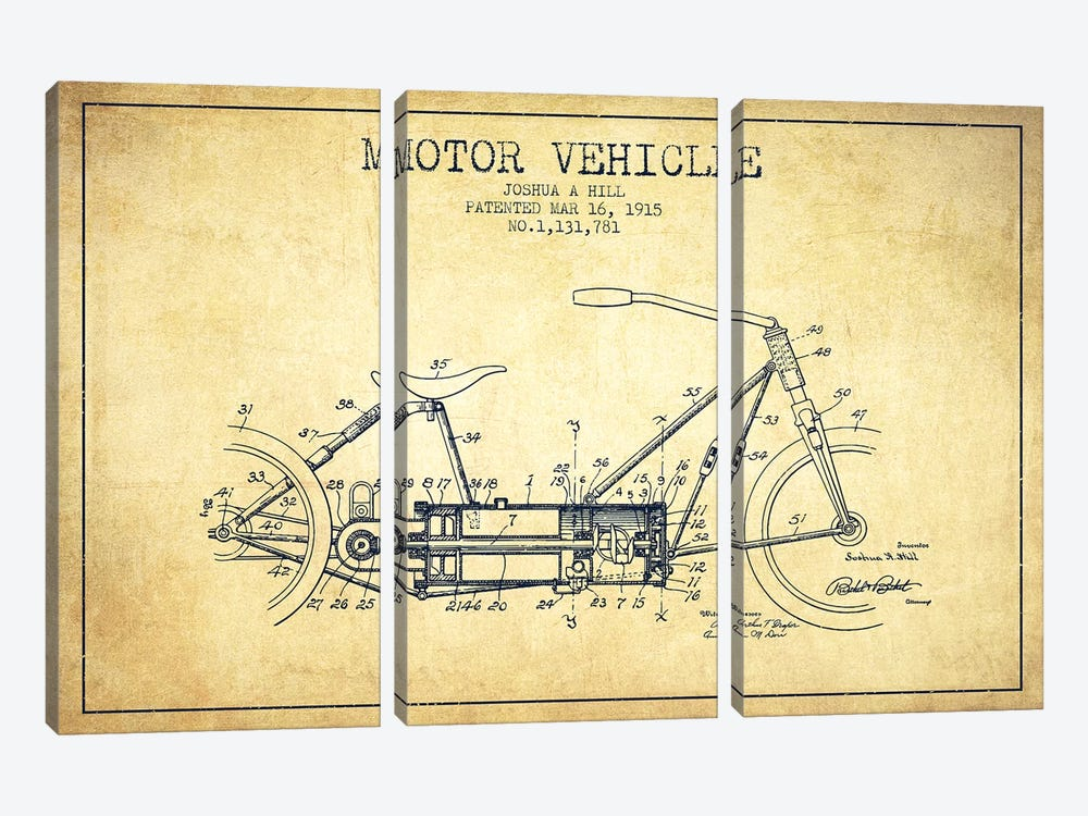 Joshua A. Hill Motor Vehicle Patent Sketch (Vintage) by Aged Pixel 3-piece Canvas Wall Art