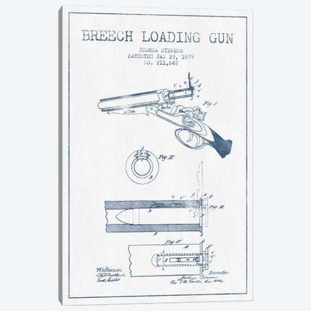 Joshua Stevens Breech Loading Gun Patent Sketch (Ink) Canvas Print #ADP3014} by Aged Pixel Canvas Print