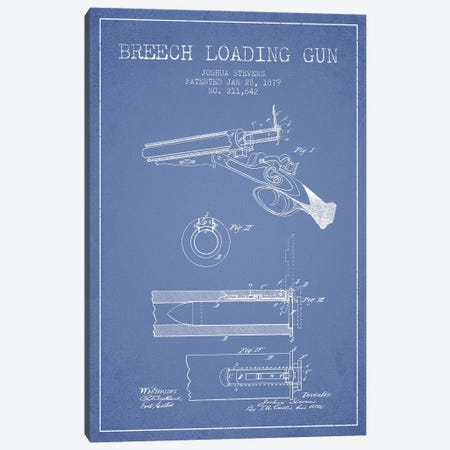 Joshua Stevens Breech Loading Gun Patent Sketch (Light Blue) Canvas Print #ADP3015} by Aged Pixel Art Print