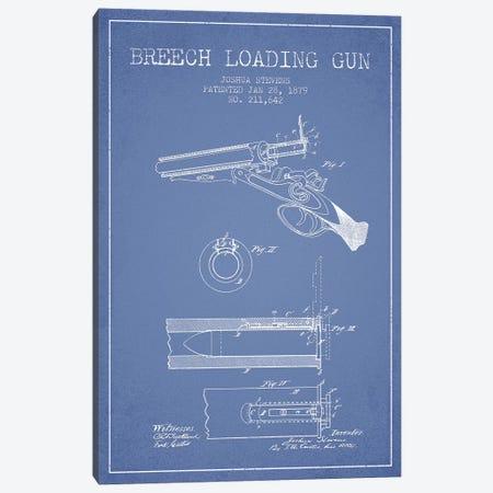 Joshua Stevens Breech Loading Gun Patent Sketch (Light Blue) Canvas Print #ADP3015} by Aged Pixel Art Print