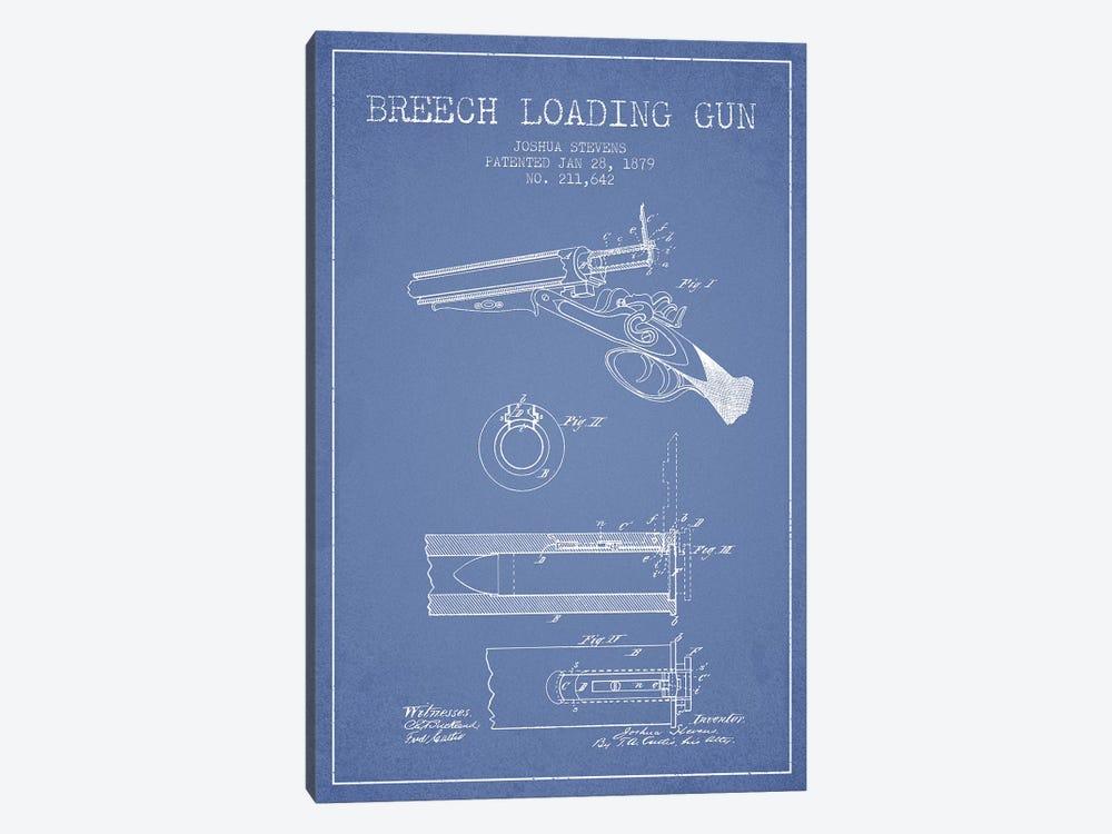 Joshua Stevens Breech Loading Gun Patent Sketch (Light Blue) by Aged Pixel 1-piece Canvas Artwork