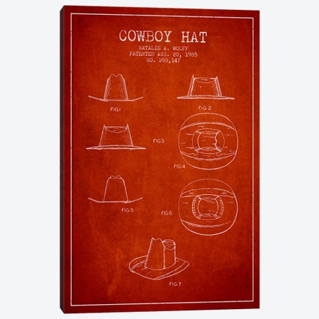 Cowboy Hat Red Patent Blueprint Canvas Print #ADP301} by Aged Pixel Canvas Artwork