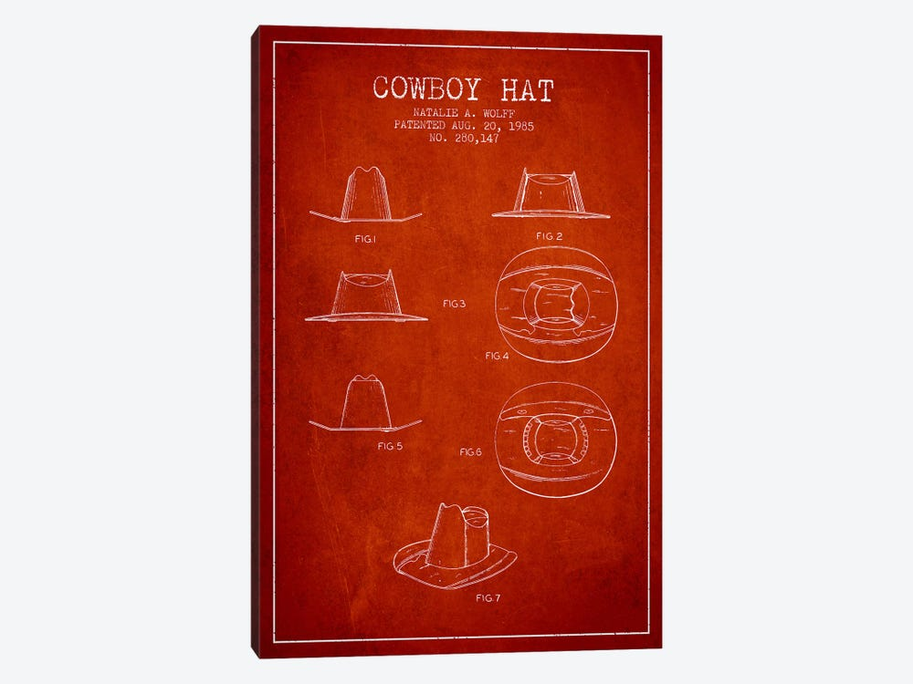 Cowboy Hat Red Patent Blueprint by Aged Pixel 1-piece Canvas Artwork