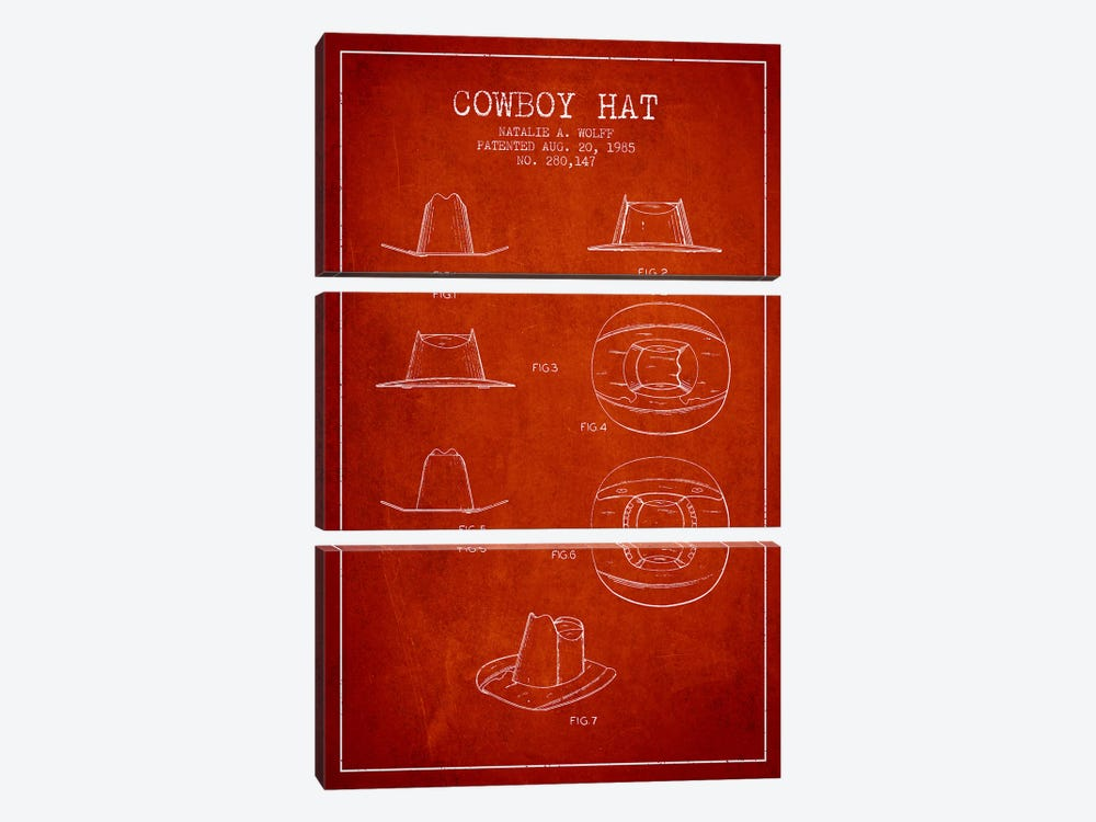 Cowboy Hat Red Patent Blueprint by Aged Pixel 3-piece Canvas Artwork
