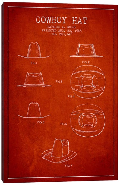 Cowboy Hat Red Patent Blueprint Canvas Art Print