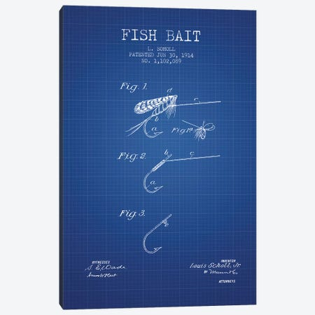 L. Soholl Fish Bait Patent Sketch (Blue Grid) Canvas Print #ADP3020} by Aged Pixel Canvas Print