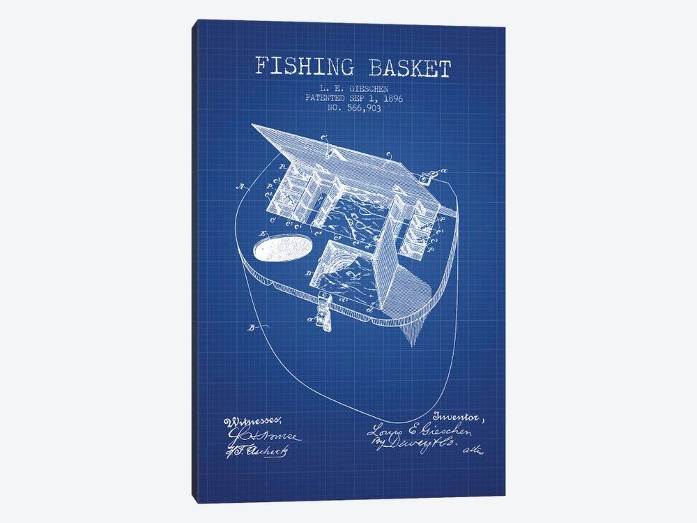 L.E. Gieshen Fishing Basket Patent Sketch (Blue Grid) by Aged Pixel 1-piece Canvas Art Print