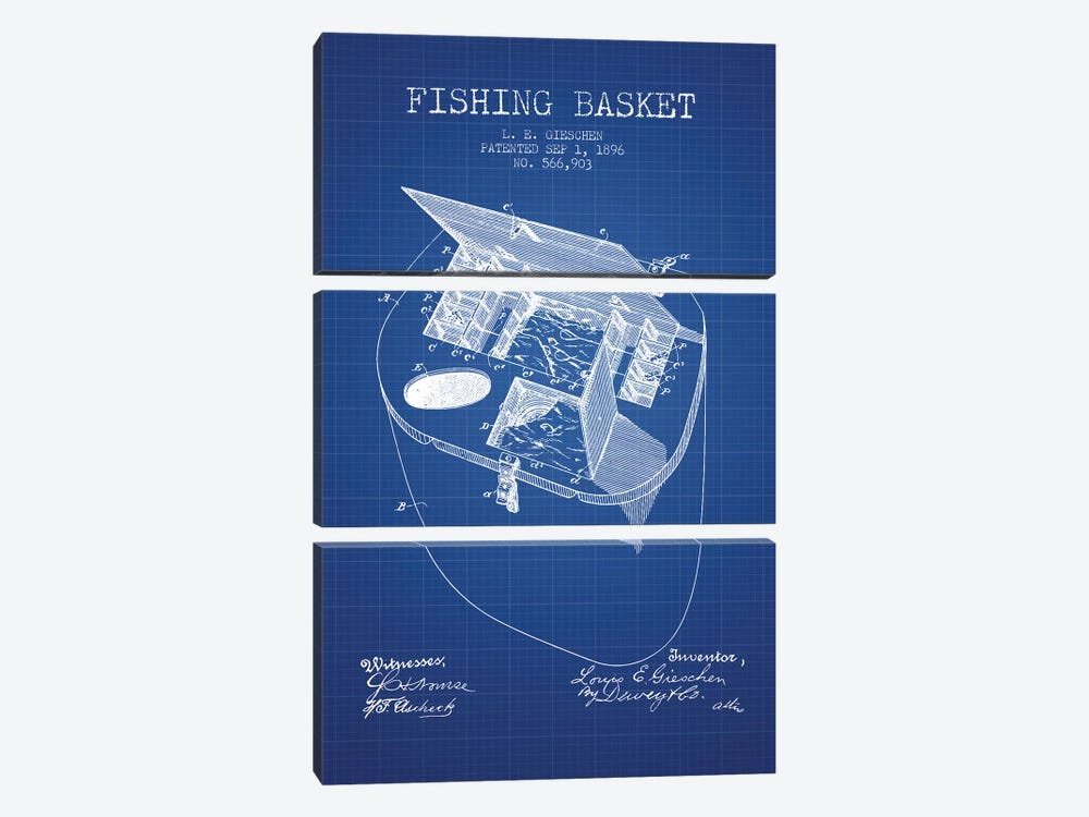 L.E. Gieshen Fishing Basket Patent Sketch (Blue Grid) by Aged Pixel 3-piece Canvas Print