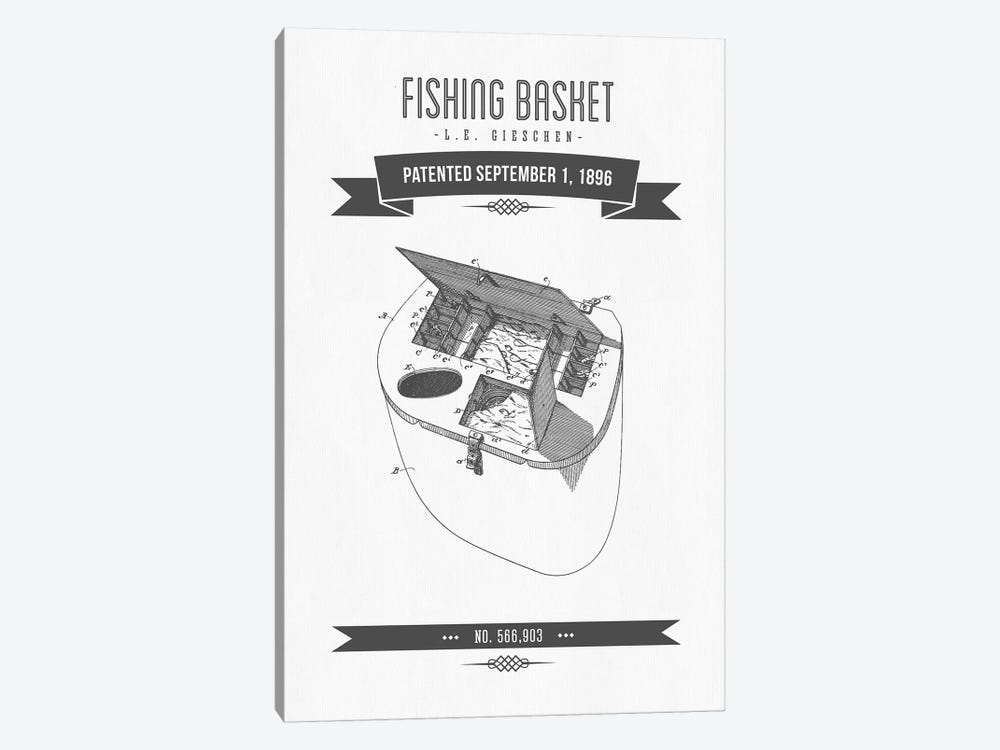 L.E. Gieshen Fishing Basket Patent Sketch Retro (Charcoal) by Aged Pixel 1-piece Canvas Wall Art