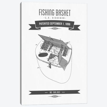 L.E. Gieshen Fishing Basket Patent Sketch Retro (Charcoal) Canvas Print #ADP3022} by Aged Pixel Canvas Art Print
