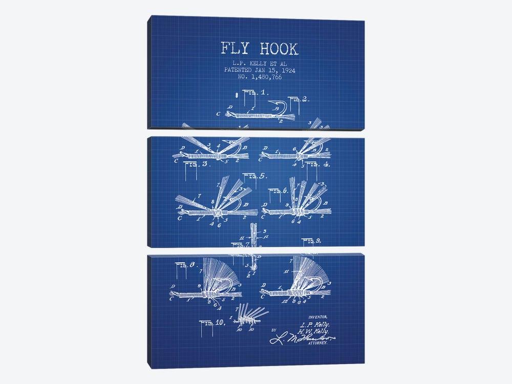 L.P. Kelly, et al. Fly Hook Patent Sketch (Blue Grid) by Aged Pixel 3-piece Canvas Art