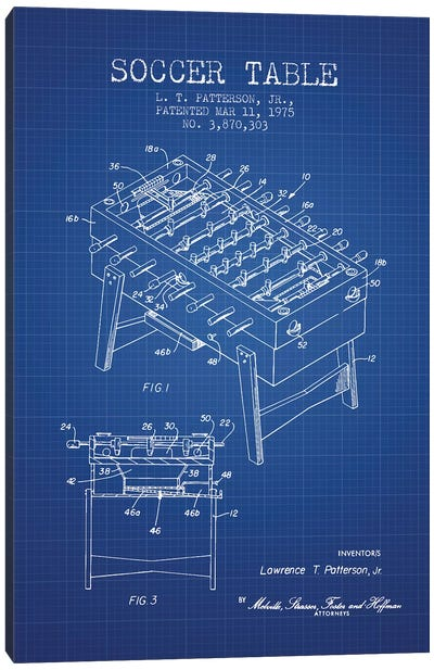 L.T. Patterson, Jr. Soccer Table Patent Sketch (Blue Grid) Canvas Art Print