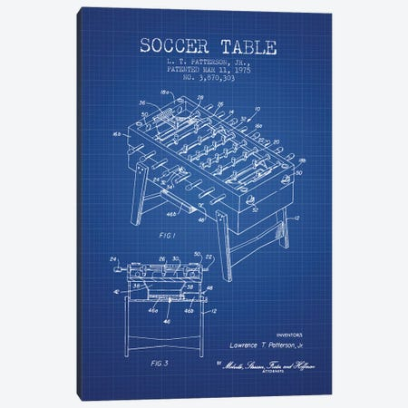 L.T. Patterson, Jr. Soccer Table Patent Sketch (Blue Grid) Canvas Print #ADP3025} by Aged Pixel Canvas Wall Art