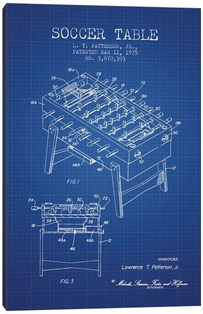 L.T. Patterson, Jr. Soccer Table Patent Sketch (Blue Grid) Canvas Art Print