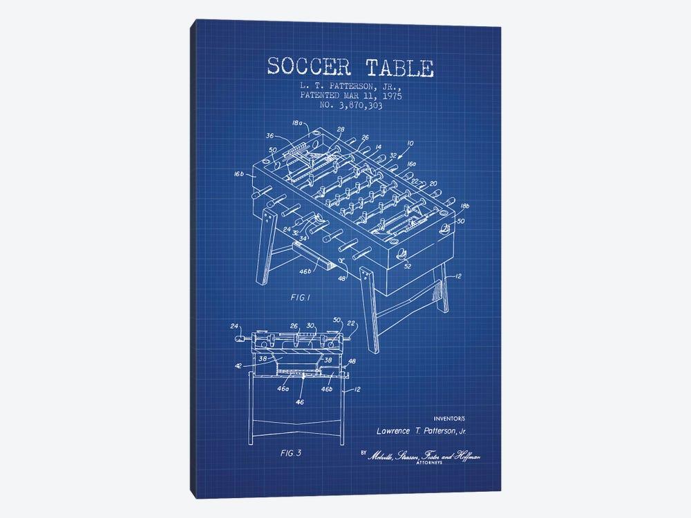 L.T. Patterson, Jr. Soccer Table Patent Sketch (Blue Grid) by Aged Pixel 1-piece Art Print