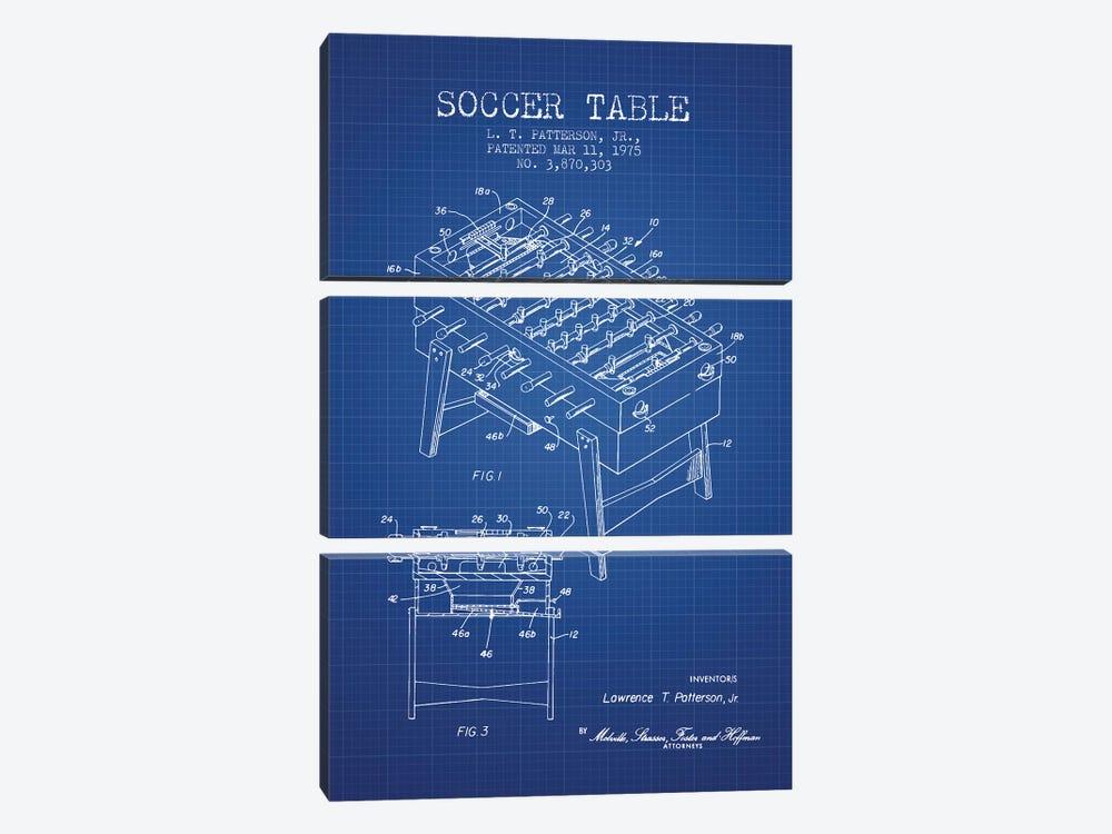 L.T. Patterson, Jr. Soccer Table Patent Sketch (Blue Grid) by Aged Pixel 3-piece Art Print