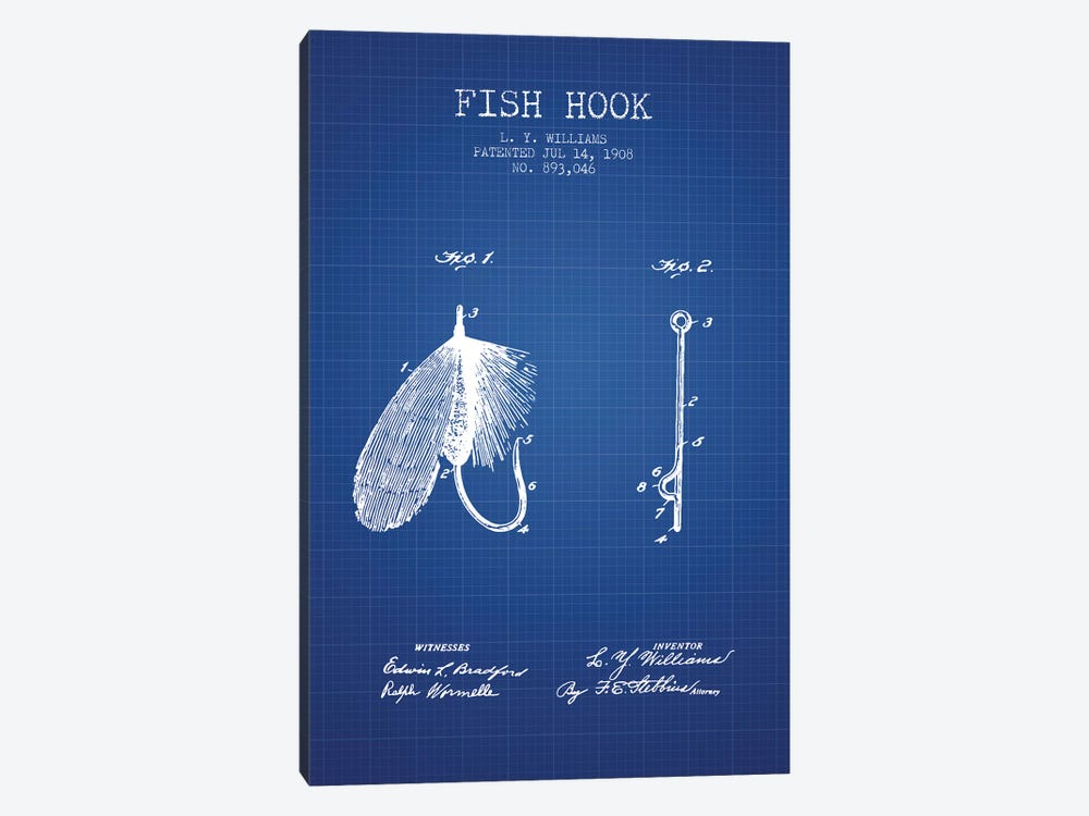 L.Y. Williams Fish Hook Patent Sketch (Blue Grid) by Aged Pixel 1-piece Canvas Art