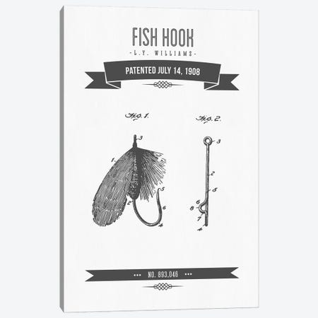 L.Y. Williams Fish Hook Patent Sketch Retro (Charcoal) Canvas Print #ADP3027} by Aged Pixel Canvas Wall Art