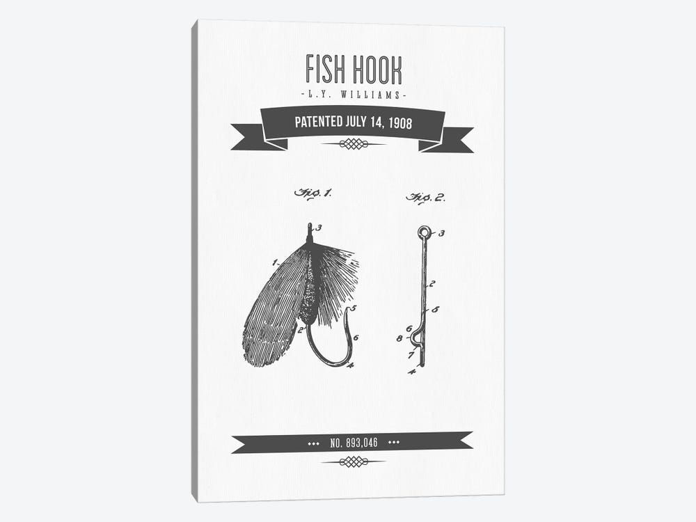 L.Y. Williams Fish Hook Patent Sketch Retro (Charcoal) by Aged Pixel 1-piece Canvas Art Print