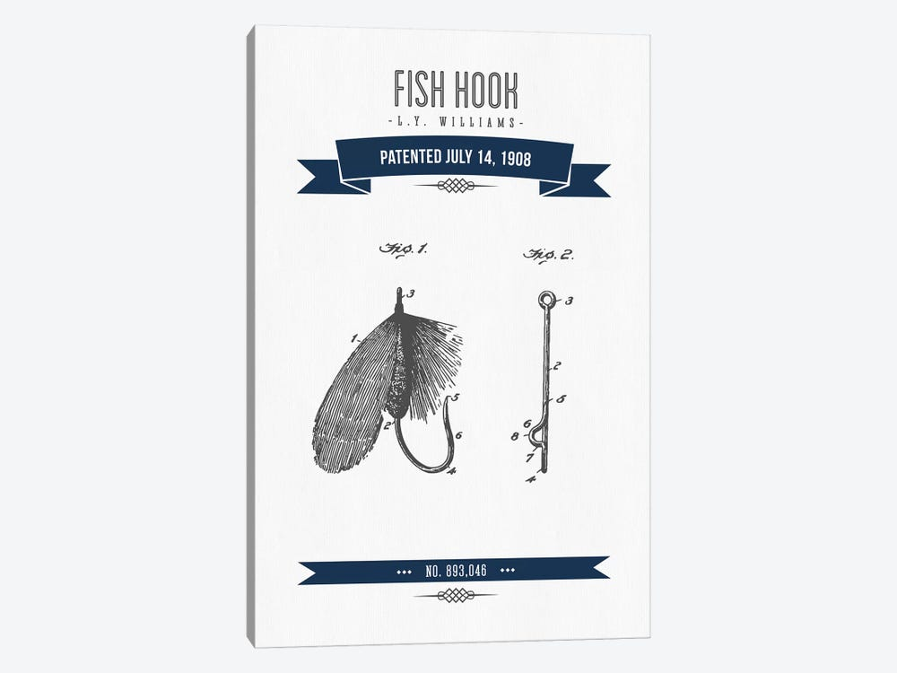 L.Y. Williams Fish Hook Patent Sketch Retro (Navy Blue) by Aged Pixel 1-piece Canvas Artwork