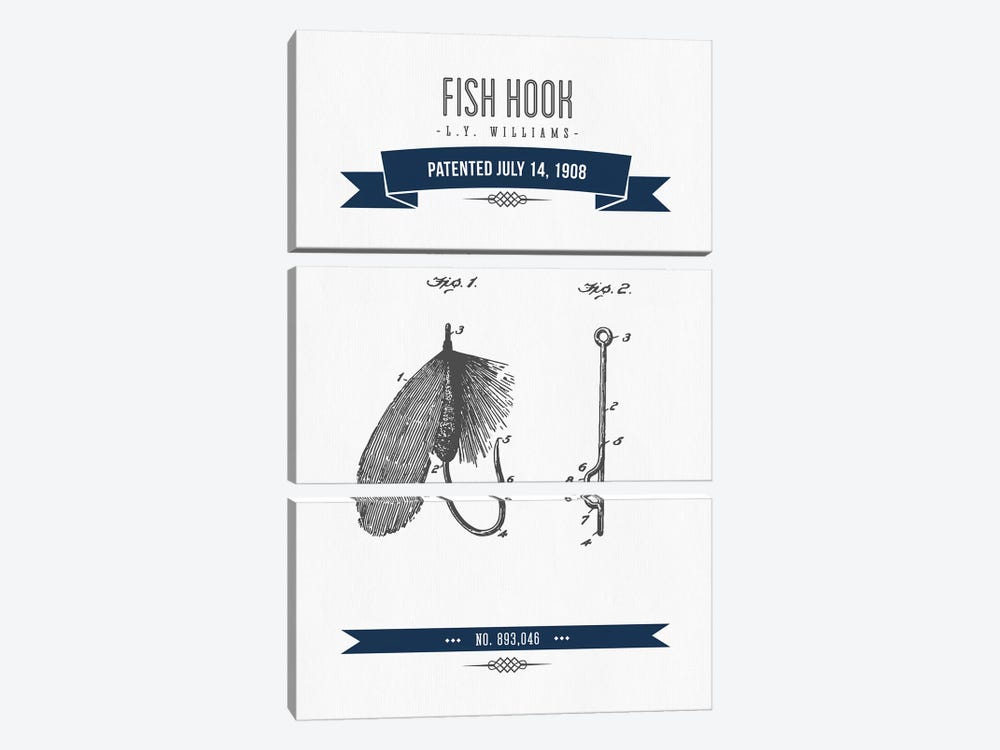 L.Y. Williams Fish Hook Patent Sketch Retro (Navy Blue) by Aged Pixel 3-piece Canvas Art
