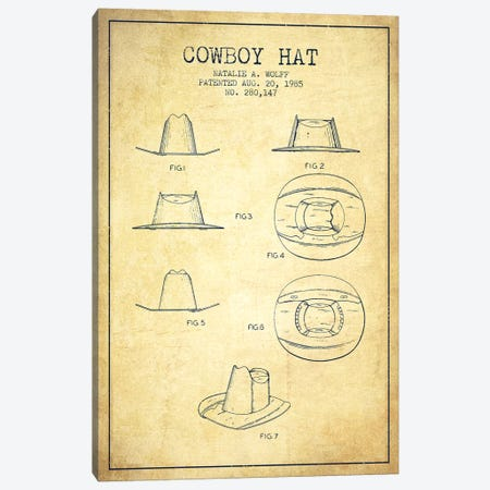 Cowboy Hat Vintage Patent Blueprint Canvas Print #ADP302} by Aged Pixel Canvas Art