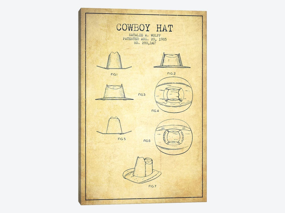Cowboy Hat Vintage Patent Blueprint by Aged Pixel 1-piece Canvas Art Print