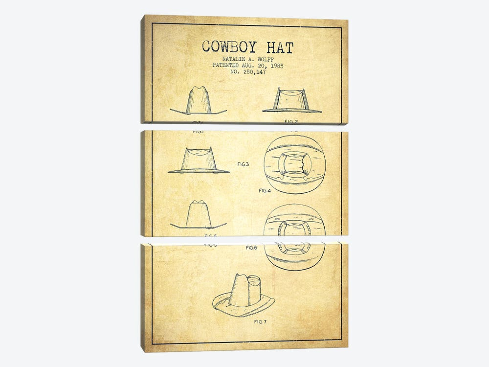 Cowboy Hat Vintage Patent Blueprint by Aged Pixel 3-piece Art Print