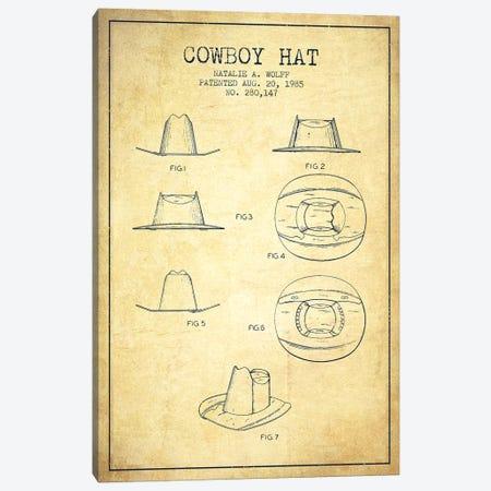 Cowboy Hat Vintage Patent Blueprint Canvas Print #ADP302} by Aged Pixel Canvas Art