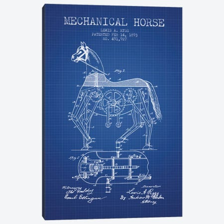 Lewis A. Rygg Mechanical Horse Patent Sketch (Blue Grid) Canvas Print #ADP3030} by Aged Pixel Canvas Artwork