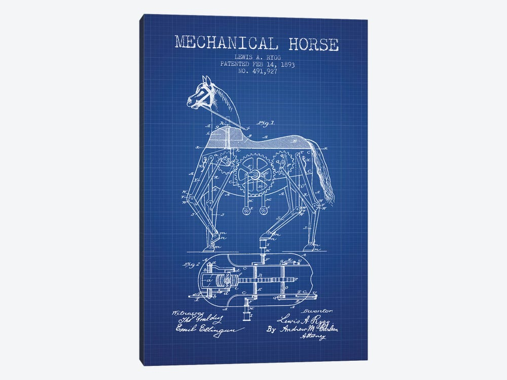 Lewis A. Rygg Mechanical Horse Patent Sketch (Blue Grid) by Aged Pixel 1-piece Canvas Print