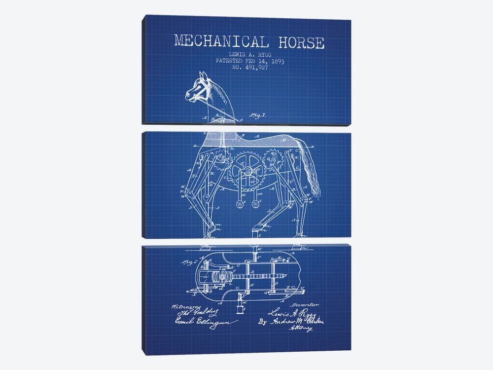 Lewis A. Rygg Mechanical Horse Patent Sketch (Blue Grid) by Aged Pixel 3-piece Art Print