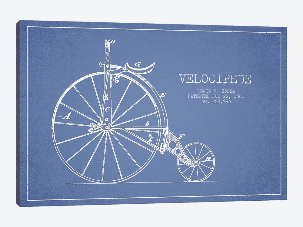 Lewis M. Hosea Velocipede Patent Sketch (Light Blue) by Aged Pixel 1-piece Canvas Artwork