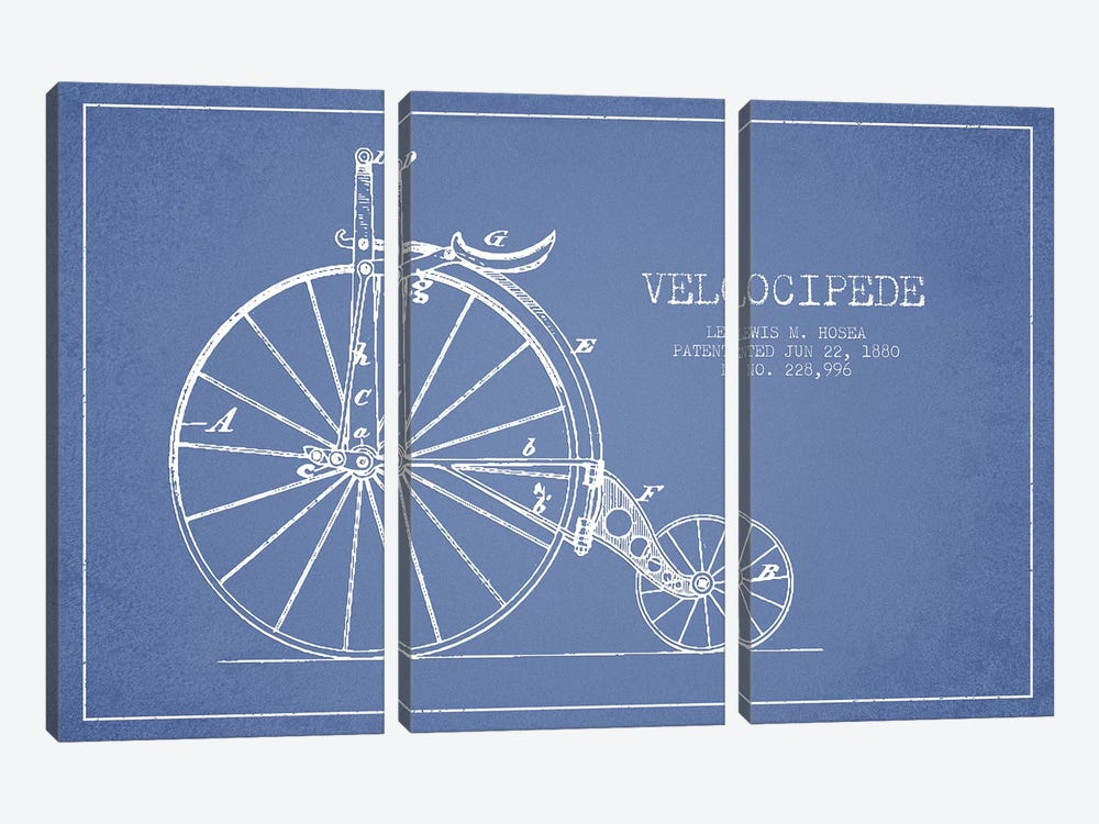 Lewis M. Hosea Velocipede Patent Sketch (Light Blue) by Aged Pixel 3-piece Canvas Wall Art