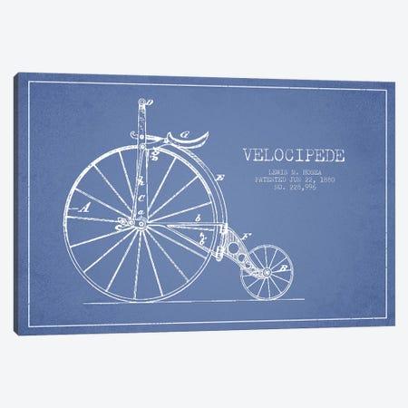 Lewis M. Hosea Velocipede Patent Sketch (Light Blue) Canvas Print #ADP3031} by Aged Pixel Canvas Art