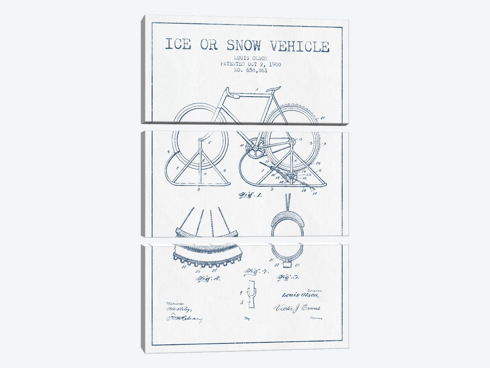 Louis Olson Ice Or Snow Vehicle Patent Sketch (Ink) by Aged Pixel 3-piece Art Print