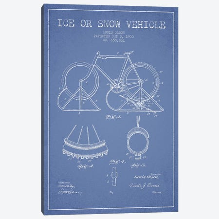 Louis Olson Ice Or Snow Vehicle Patent Sketch (Light Blue) Canvas Print #ADP3033} by Aged Pixel Canvas Wall Art