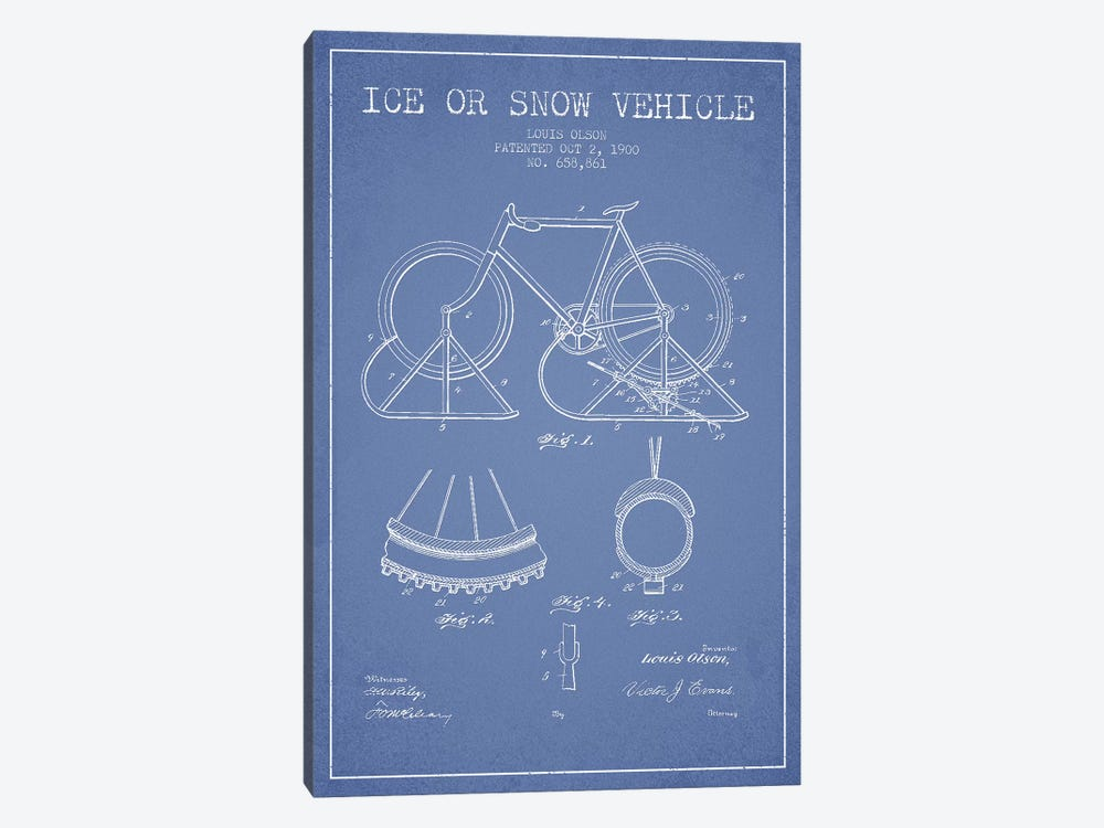 Louis Olson Ice Or Snow Vehicle Patent Sketch (Light Blue) by Aged Pixel 1-piece Canvas Artwork