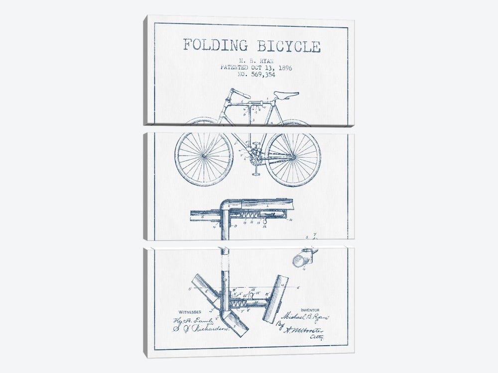 M.B. Ryan Folding Bicycle Patent Sketch (Ink) by Aged Pixel 3-piece Canvas Artwork