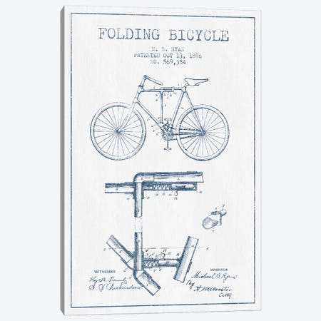 M.B. Ryan Folding Bicycle Patent Sketch (Ink) Canvas Print #ADP3035} by Aged Pixel Art Print
